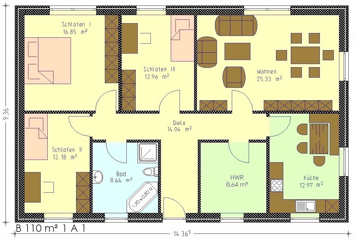bungalow 110 qm grundrisse ihr traumhaus ideen. Black Bedroom Furniture Sets. Home Design Ideas